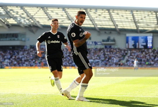 BRIGHTON, ENGLAND - SEPTEMBER 01: Aleksandar Mitrovic of Fulham celebrates after scoring his team's second goal during the Premier League match between Brighton & Hove Albion and Fulham FC at American Express Community Stadium on September 1, 2018 in Brighton, United Kingdom. (Photo by Bryn Lennon/Getty Images)