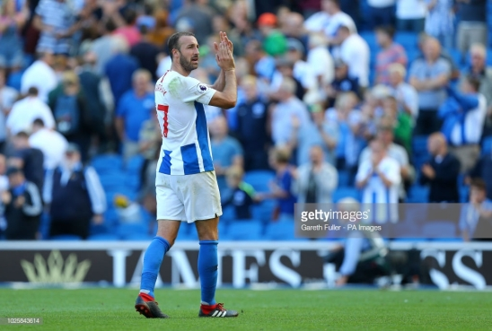 Brighton & Hove Albion's Glenn Murray applauds the fans after the Premier League match at the AMEX Stadium, Brighton. (Photo by Gareth Fuller/PA Images via Getty Images)