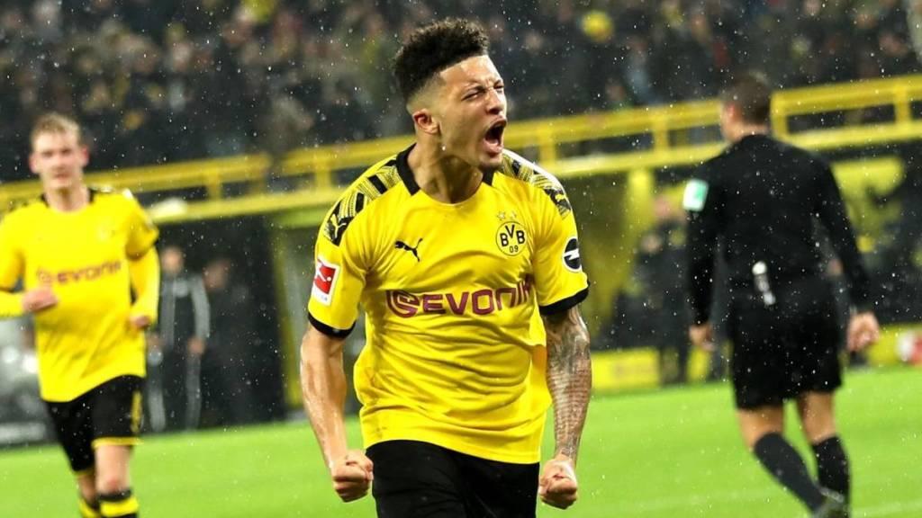 Jadon Sancho scores a goal for Borussia Dortmund