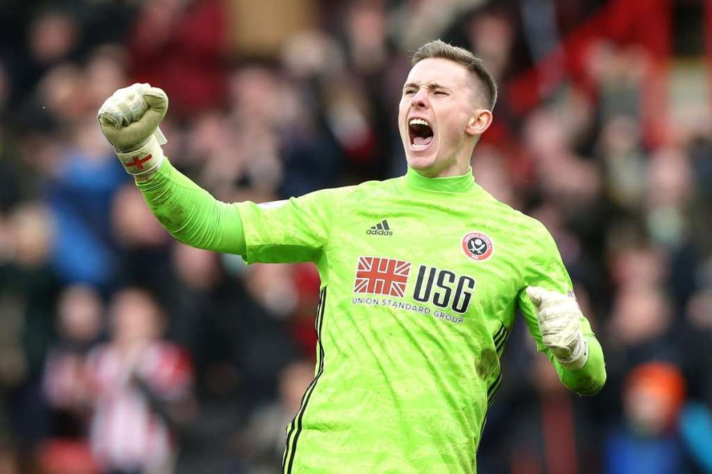 Dean Henderson celebrates for Sheffield United in the Premier League