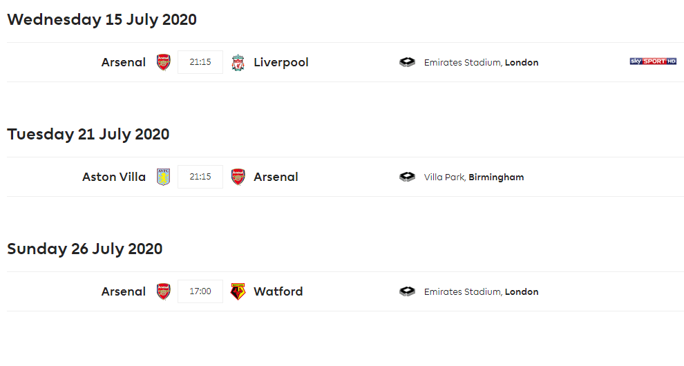 Image of Arsenal's remaining Premier League fixtures
