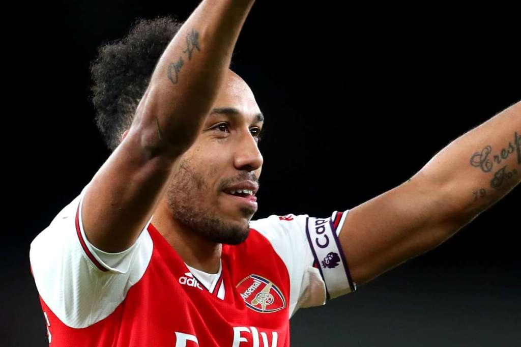 Aubameyang in his Arsenal kit