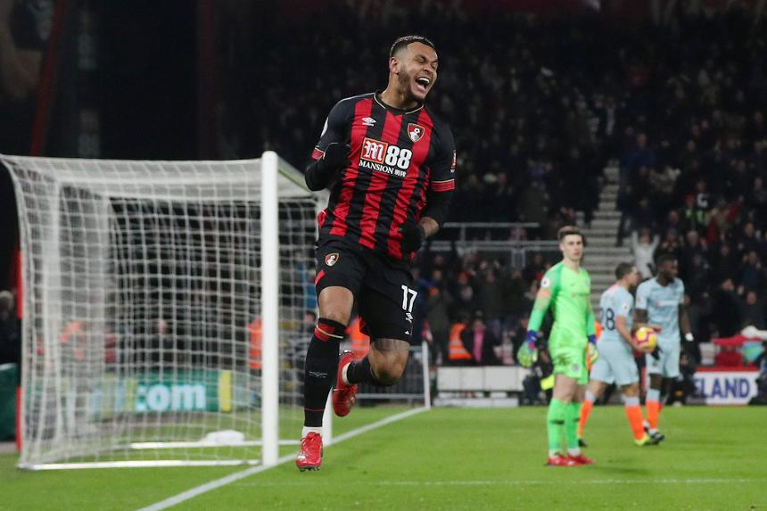 Josh King celebrates scoring a goal in AFC Bournemouth's 4-0 Premier League win over Chelsea