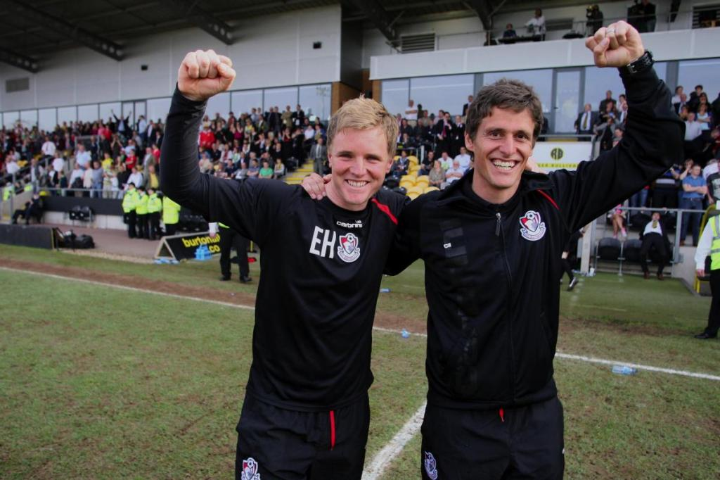 Eddie Howe of AFC Bournemouth and his assistant Jason Tindall